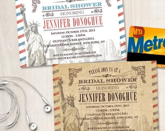 Vintage New York City Bridal Wedding Shower Invitation, Printable, Evite or Printed (US Only) Invitations