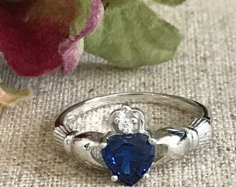 Claddagh Ring, 925 Sterling Silver Traditional Irsh Claddagh Ring,Silver Claddagh Wedding Ring, Birthstone Claddagh Ring, Engagement Ring