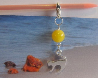 Cat Amber Pendant 2.2 gr. Natural Baltic yellow bead opaque round,  silver color cat figure steel clasp for catlovers