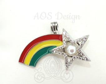 Rainbow Pearl Cage Shooting Star Crystals Locket Charm Pendant Rainbows Necklace