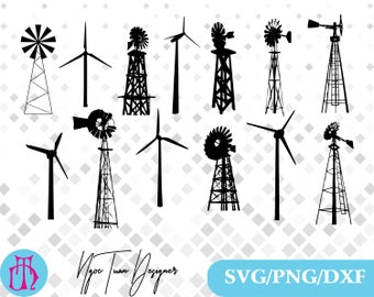 Wind turbine svg,png,dxf /Wind turbine clipart for Print,Design,Silhouette,Cricut and any more