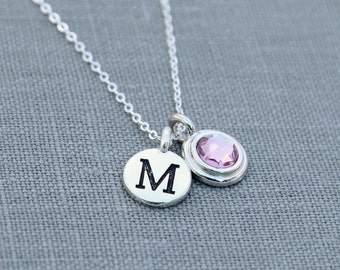 Birthstone Initial Jewelry, Silver June Birthstone Necklace for Mom, Initial Necklace, Alexandrite June Birthday Gift