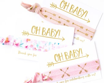 OH BABY! Boho Baby Shower Favors | Arrow +  Floral Hair Tie Favors, Baby Shower Hair Tie Favors, Pink Floral Tribal Girl Baby Shower Favors