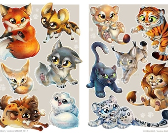 Feline and Canide Stickers Sheets