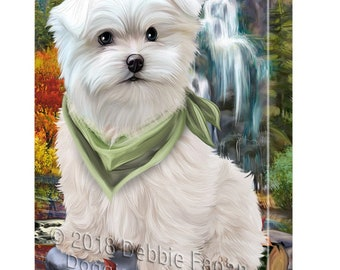 Scenic Waterfall Maltese Dog Canvas Wall Art