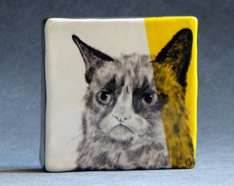 Hand Painted Tard The Grumpy Cat Portrait Wall Tile Yellow