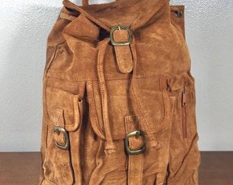 Backpack Bag, Large Suede Leather, Backpack,brown suede