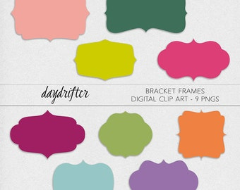 Instant Download Rainbow Curly Bracket Frames