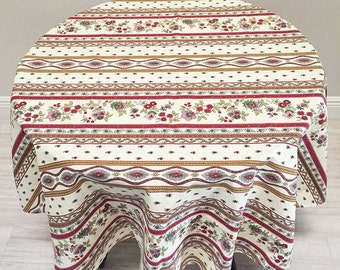 French Country Tablecloth, Red and Soft Yellow Tablecloth