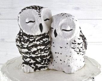 Snowy Owl Love on a Stump Custom Wedding Cake Topper