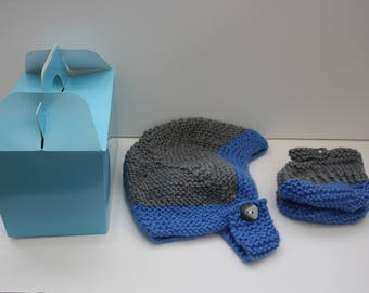 Boys helmet and booties grey and blue 3 - 6 months