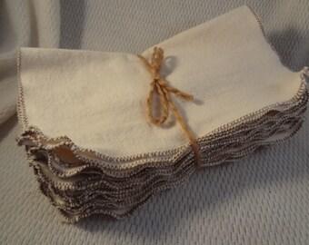 Soft Flannel Reusable Baby Wipes or Unpaper Towels - Bundle of 10 - Natural Color 2841