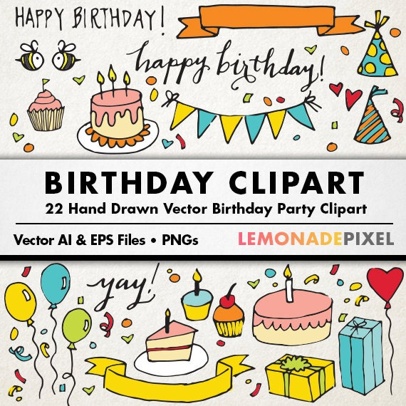 Birthday Party Clipart hand drawn clip art birthday cake