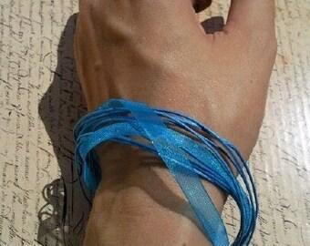 Light blue versatile satin ribbon thong necklace to bracelet
