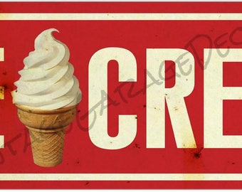 Soft Ice Cream Cone - Red Metal Sign (Rusted)