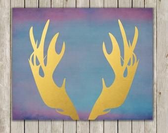 8x10 Moose Antler, Moose Head Antler, Moose Horn, Gold Antler Wall Art, Metallic Home Decor, Antler Art, Antler Wall Print, Instant Download