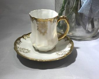Tasse à moka porcelaine doré CS Prusse et soucoupe