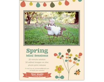 Spring Mini Session Template - Photography Marketing Board, Photoshop Template for Photographers, INSTANT DOWNLOAD