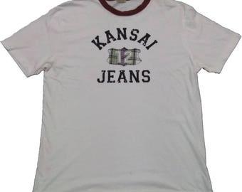 Kansai Jeans White Shirt Kansai Clothing Adult Kansai Wear Short Sleeve Vintage T-shirt #328-8