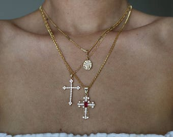 Down For You 14K Gold Plated Necklace - Gold Chain Necklace - Gold Necklace - Cross Necklace - Crucifix Necklace - Religious Necklace