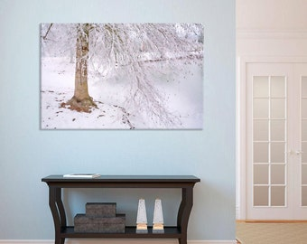 Winter Hush painted photo - frozen lake icy trees snowy ground, minimalistic wall decor, home decor, snowy tree, frozen lake, watercolor