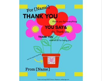 Thank you song plays on colorful personalized wall art print | song wall art | Valentine for colleague | Valentines gift for teacher | print