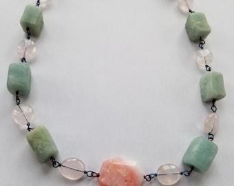 Handmade Aquamarine, Pink Opal, & Rose Quartz Gemstone/Crystal Necklace