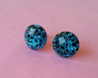♥ Earrings round blue leopard ♥