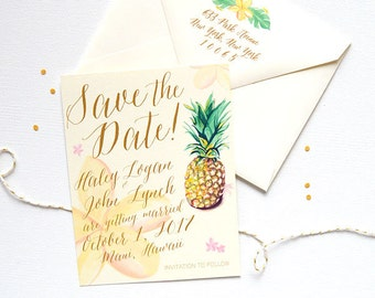 Destination Wedding Save the Date Sample, Tropical Wedding Save the Dates, Hawaiian Wedding Save the Date, Save the Date Cards