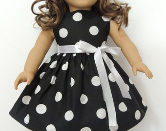 18 Inch Doll Dress - Fit American Girl Doll - Black Polka Dots Dress