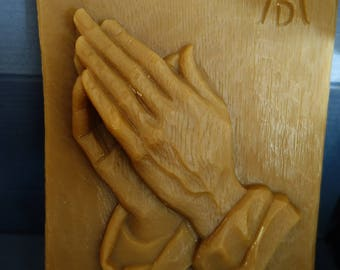 praying hands plate in natural beeswax