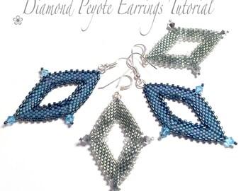 PDF beading tutorial pattern - Diamond peyote earrings