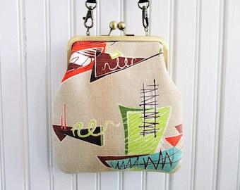 "Chartreuse Orange Brown on Tan Ground Atomic Vintage Barkcloth Fabric 6"" Antique Brass Kisslock Frame Crossbody Shoulder Bag Purse"