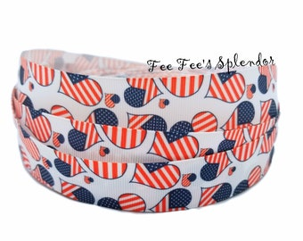 "1"" Grosgrain RIBBON - 4th of July print - By the yard - Independence Day ribbon- 1 inch - 25 mm - Freedom ribbon"