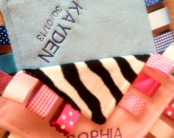 Personalised or Unpersonalised Taggy Blanket/Comforter/Gift in Pastel Shades