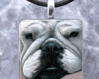 Art Glass Pendant 1x1 Dog 118 English Bulldog Jewelry Necklace Earrings from art painting by L.Dumas