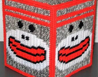 SOCK MONKEY - Fun Boutique Size Tissue Box Cover - Child's Bedroom Decor