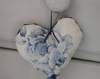 Blue Roses & Velvet Lavender Heart.  Decorative Heart.  Valentine Heart