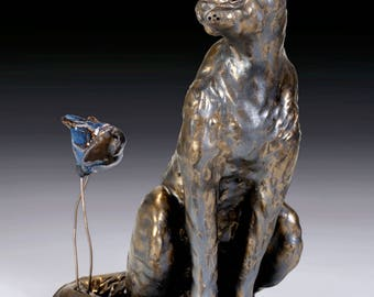 Ceramic Cat Sculpture - Bella Cat and Big Blue Bird