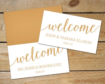 Bella Script Wedding Place Cards, Printable Place Cards // DIY Editable Place Card Templates, Caramel Gold // Instant Download