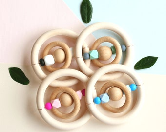 Montessori | Baby Rattle | Baby Gift | Wooden Teething Ring | Organic Wooden Teether | Baby Shower Gift | Teething Ring | Teether | Rattle