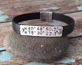 Custom Coordinates Leather Cuff, Unisex Leather Latitude Longitude Bracelet, Personalized Men's Leather Bracelet, 3rd Anniversary Gift