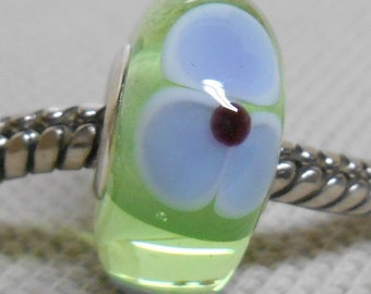 Handmade Lampwork European Style Charm Bead Transparent Light Green with Blue Violet Flowers