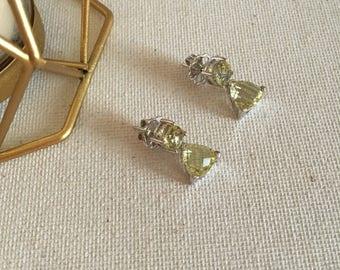 Lemon quartz earrings, natural stones with silver earrings, drop earrings