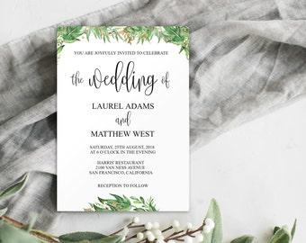Greenery Wedding Invitation Printable, Greenery Wedding Invitation Template, Wedding Invitation Template Download, DIY Wedding Invite, 0023