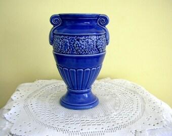 Vintage Mid Century Cobalt Blue Ceramic Neo-Classical Grapes Design Urn Shape Vase