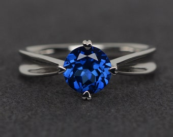 blue sapphire ring round cut prong setting silver promise ring blue gemstone ring September birthstone ring engagement ring