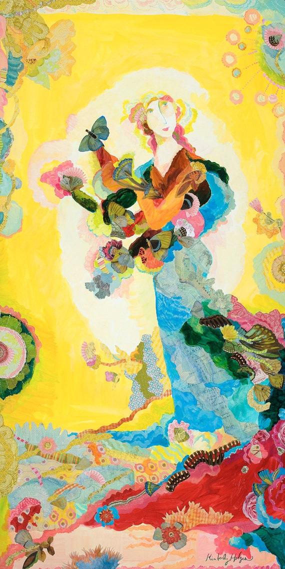 Arctique giclee print by Kimberly Hodges, collage art, goddess art, Persephone, sacred feminine art, butterflies
