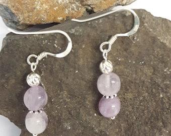 Handmade Sterling Silver and Amethyst Gemstone Earrings