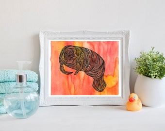 Manatee Printable Picture, Watercolor Illustration Digital Art Print, Drawn Manatees Painting, Wall Artwork, Gift, Instant Download, 8x10